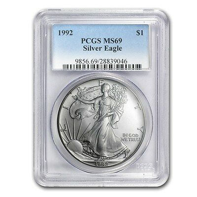 1992 American Eagle PCGS MS69 1 Oz Silver One Dollar Coin