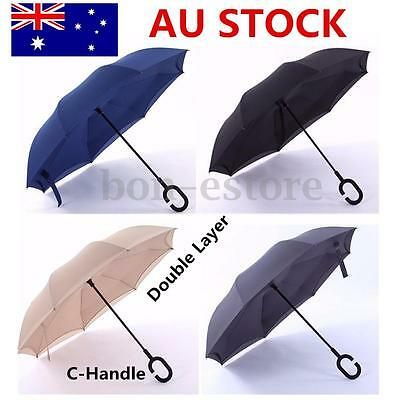 New Reverse Inverted Upside Down Umbrella Double Layer Inside Out C-Handle AU