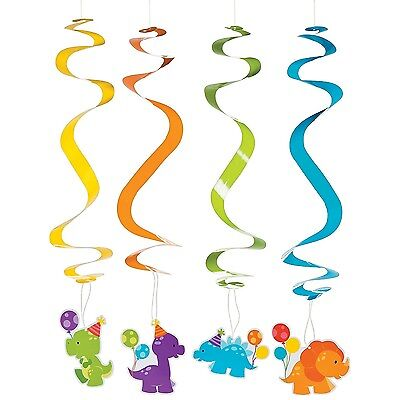 Little Dino Dinosaur Party Supplies Hanging Swirl Decorations (Pack Of 12)