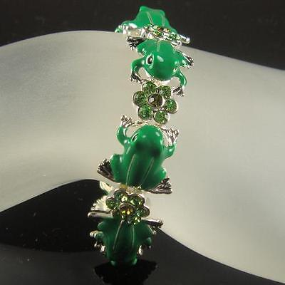Cute Crystal Frog Stretch Bracelet Made With Swarovski Elements