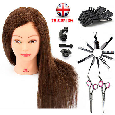 UK 90% Real Hairdressing Training Head Cosmetology Mannequin + Salon Tools Kits