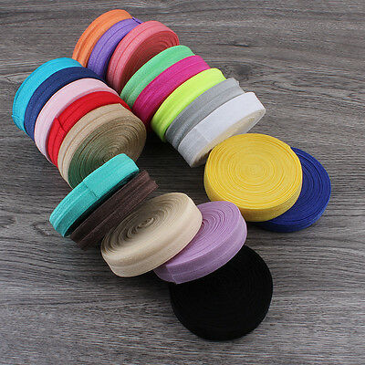 5/10Meter 15MM DIY Multirole Fold Over Elastic Spandex Satin Band Ties 20 Colors