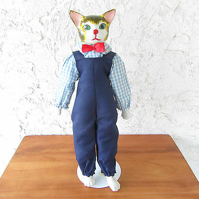 """Vintage Ceramic Cat Doll Cloth Body Blue Overalls w/ Gingham Shirt 15"""" & Stand"""