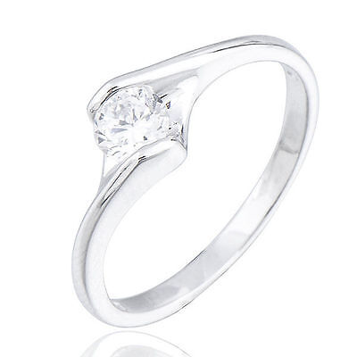 18K White Gold Filled crystal Crystals Ladies Wedding Rings Size 10