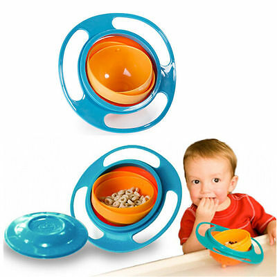 Baby Kids Non Spill Feeding Toddler Gyro Bowl 360 Rotating Avoid Food Spilling