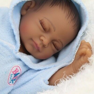 "11"" Real Looking Vinyl Silicone Newborn African Black Baby Handmade Reborn Doll"