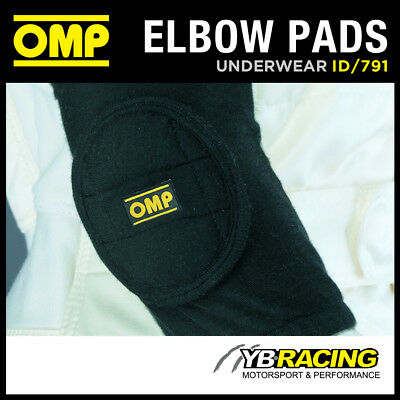 Id/791 Omp Racing Nomex Elbow Pads (Pair) Black Fia Approved Fireproof Adult