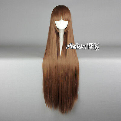 Lolita Brown Long 100CM Straight Fashion Cosplay Wig with Bangs + Wig Cap