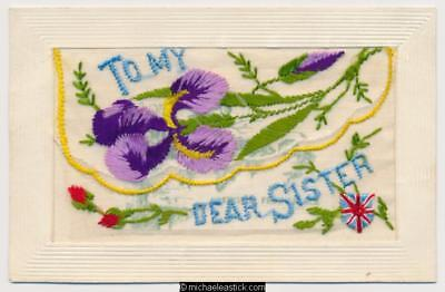 WWI Embroidered Silk, Dear Sister, Purple Iris