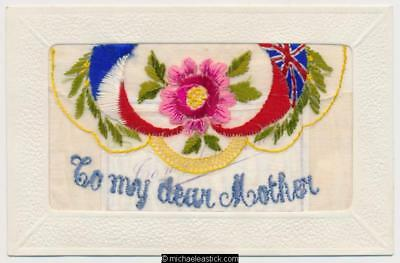 WWI Embroidered Silk, Dear Mother, Flags