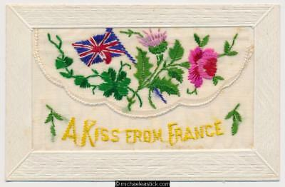 WWI Embroidered Silk, Kiss from France