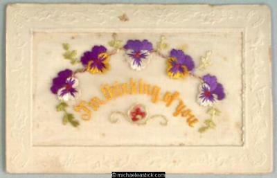 WWI French Embroidered Silk, Flowers - I'm Thinking of You