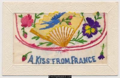 WWI Embroidered Silk, A Kiss From France, Bird and Fan