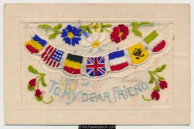 WWI Embroidered Silk, Dear Friend, Flags