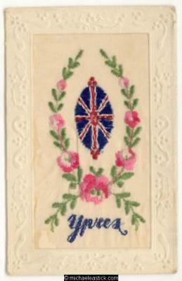 WWI Embroidered Silk, Union Jack Shield, Ypres