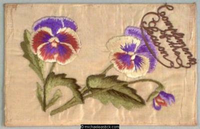WWI French Embroidered Silk Pocket, Pansies