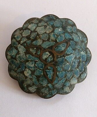 Antique bronze hardstone brooch