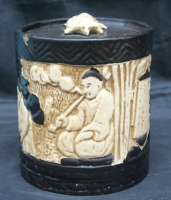 Antique Vintage Bretby Tobacco Jar Oriental Figures Decoration Signed & No.1400