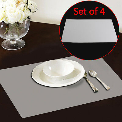 Set of 4 Plastic Clear Placemat Kitchen Tableware Place Mats Pad