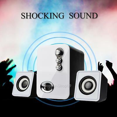3D Sound 2.1 CH PC Computer Speaker with Dual Subwoofer Laptop Desktop White