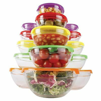 10 Piece Glass Food Storage Bowl Set + Lids Food Container Microwave Dishwasher