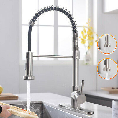 Brushed Nickel Kitchen Sink Faucet Pull Down Sprayer Single Hole Bar Mixer Tap1
