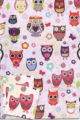 Owl Gift Wrap 2 Sheet With 2 Matching Tags Any Occasion *1St Class P&p