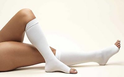 Unisex White Long Haul Flight DVT Anti-Embolism Knee Length Open Toe Socks Small
