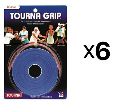 Tourna Tennis Racquet Over Grip 10 Overgrips Absorbent Dry Feel Blue (6-Pack)