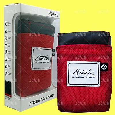 "Matador Pocket Blanket Version 2.0 Ultralight Waterproof Red 63""x44"" CERTILOGO"