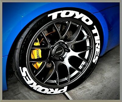 """PERMANENT TIRE LETTERS- TOYO TIRES PROXES - 1.25"""" 15""""16"""" Wheels (8 Decal Kit)"""