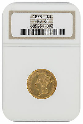 1878 $3 Gold Indian Princess MS 61 NGC (#003)