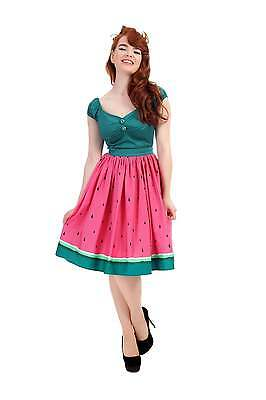 Collectif Jasmin Watermelon 1950s Swing Skirt Vintage Rockabilly Pinup Cute New