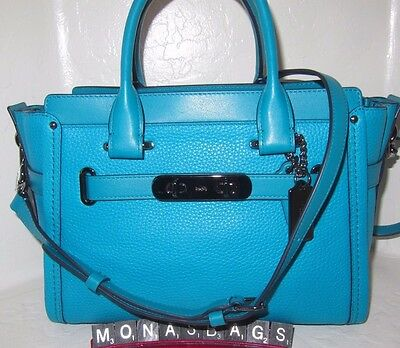 Coach New Swagger 27 Turquoise Pebbled Leather Satchel Handbag 34816 NWT $450