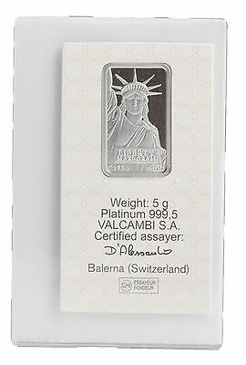 5 Gram Platinum Credit Suisse Bar in Assay Card