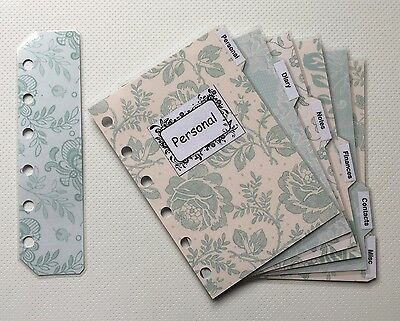 Filofax Pocket Organiser - Patterned Peppermint Labelled Dividers - Laminated