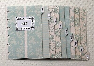 Filofax Pocket Organiser - Patterned Peppermint Contacts ABC Dividers Laminated