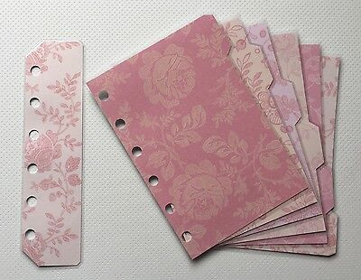 Filofax Pocket Organiser - Pretty Patterned Pink Colour Dividers - Laminated