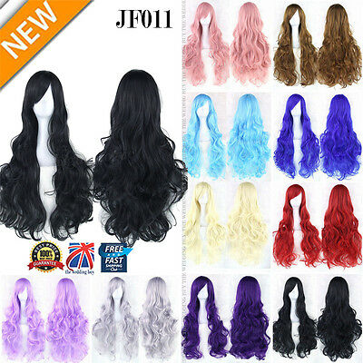 80cm Long 14 Colors Curly Women Girl Anime Cosplay Wavy Hair Wig Halloween JF011