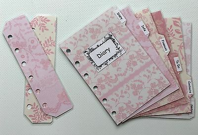 Filofax Pocket Organiser - Pretty Pink Patterned Labelled Dividers - Laminated