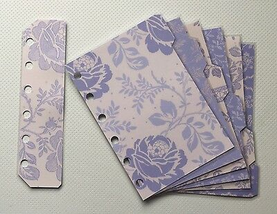Filofax Pocket Organiser - Pretty Patterned Lavender Dividers - Laminated