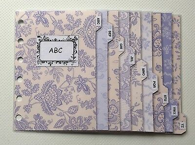 Filofax Pocket Organiser - Patterned Lavender Contacts ABC Dividers Laminated