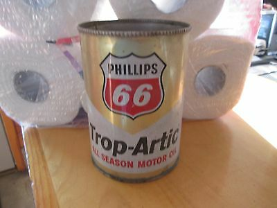 Early Original Phillips Trop-Artic Motor Oil One Quart Can Metal