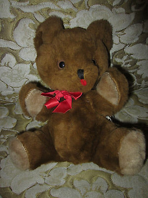 """VINTAGE BABY Eden Pot Belly Teddy Bear Brown 10"""" Sitting Red Bow FELT TONGUE USA"""
