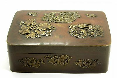 Antique 19c Meiji Era Japanese Bronze Floral Bird Decorated Box