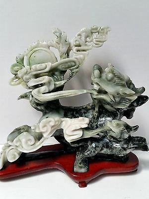 Antique Chinese Carved Jade Figure Statue Dragons