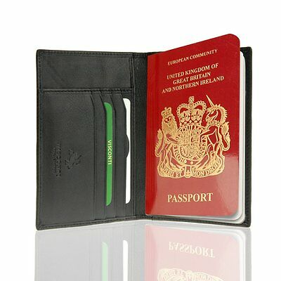 Visconti Soft Leather Secure RFID Blocking Passport Cover Wallet - POLO 2201, Bl