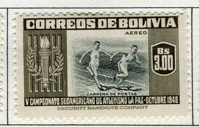 BOLIVIA;  1951 Air Sporting pictorial issue fine Mint hinged $3.0 value