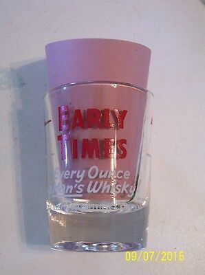 Vintage EARLY TIMES Bourbon Whisky Shot Glass ~ 2 oz.~ Red lettering