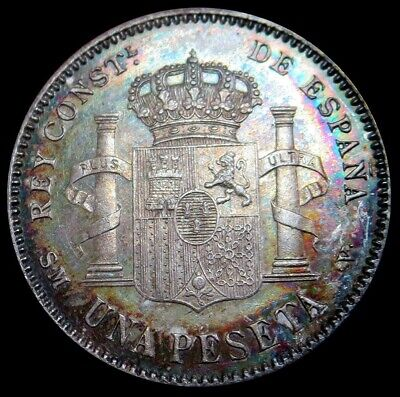 """1900 (00) Sm-V Silver Spain Peseta Alfonso Xiii Coin Unc """"great Color"""""""